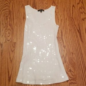 Express white sequin tank